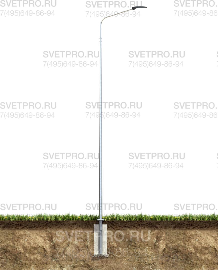 Осветительная уличная опора ОГК чаще всего монтируется на фланец. Для этого в грунте делается фундамент, в котором бетонируется закладной элемент с ответной опорной площадкой. Фиксация наземной части производится с помощью болтов. Кабель подводится под землей.