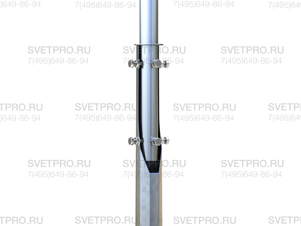 Крепление кронштейна к опоре производится с помощью хвостовой части, которая ограничена вверху шайбой. Фиксация выполнена с помощью 2 групп по 4 болта, которые вкручиваются в корпус. Благодаря большой длине хвостовика достигается прочность соединительного узла.