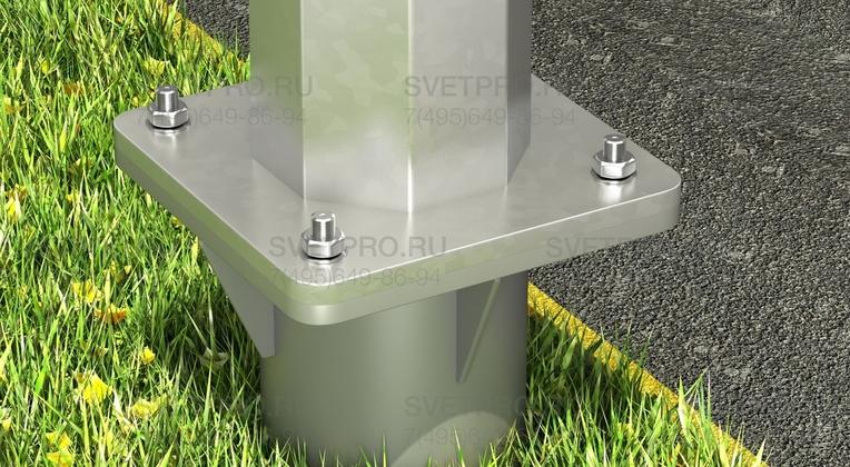 Опорная площадка для монтажа опоры ОГК имеет квадратную форму. По ее углам просверливаются отверстия под болты. Диаметр и места расположения соответствуют отверстиям в закладном элементе фундамента, чтобы монтаж происходил без задержек.