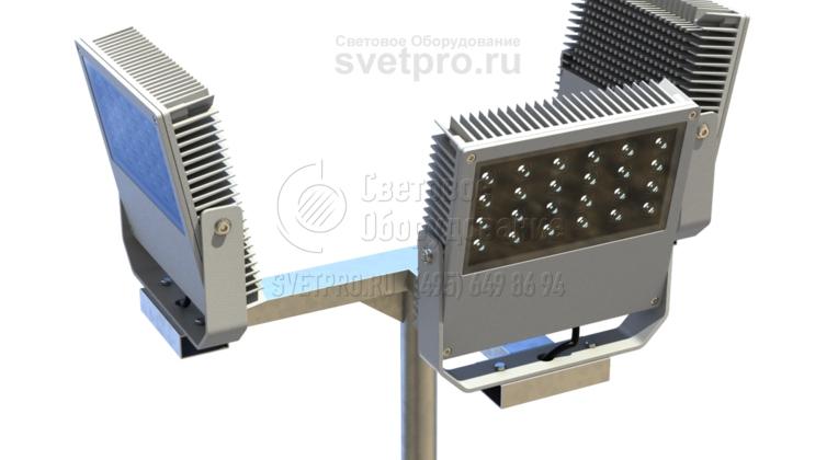 Т-образный кронштейн может иметь дополнительную полку для установки прожектора. Такой вариант изображен на фотографии. В этом случае СП устанавливаются таким образом, чтобы светить в разные стороны от ствола. Так можно ярко осветить относительно большую открытую площадку.