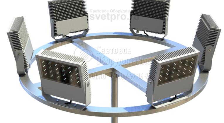 С помощью кронштейнов этой категории можно установить больше световых приборов для освещения прилегающего пространства. Для этого к концам Х-образных элементов приваривается кольцо из профилированной трубы. На ее поверхность крепятся прожекторы со скобами для направления луча света.