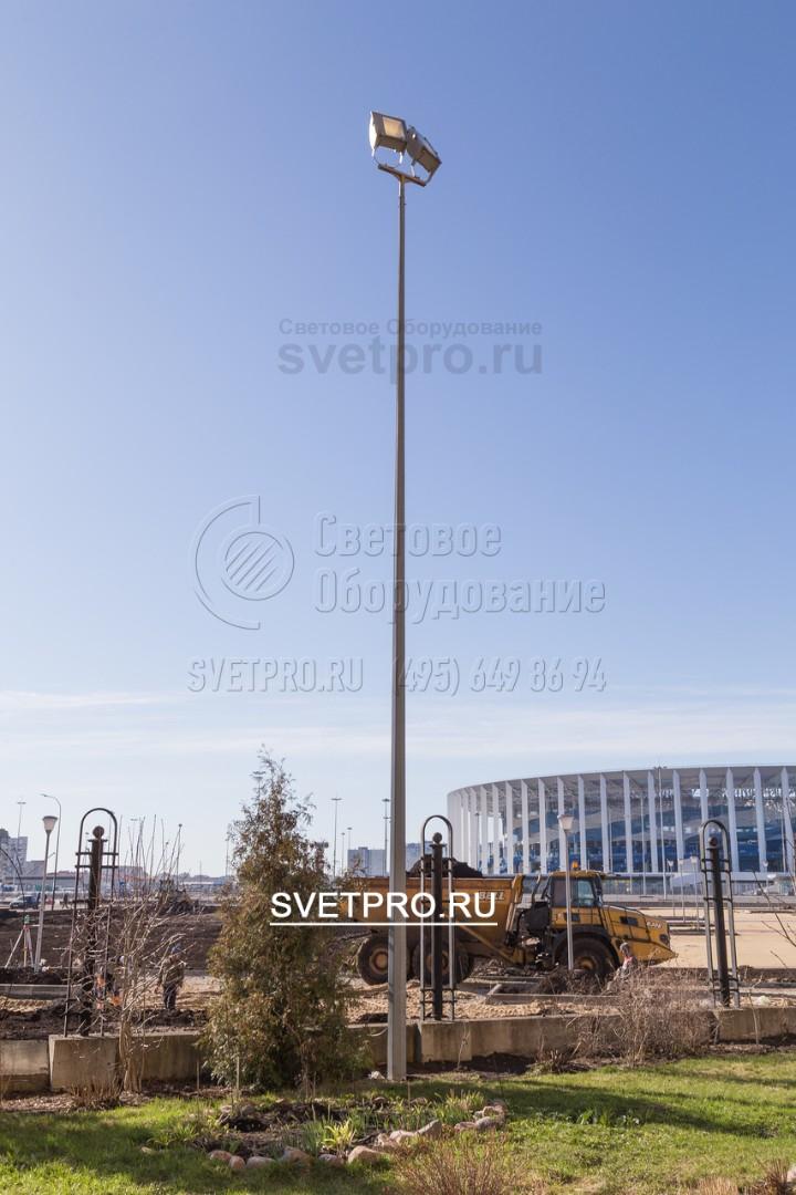 Для отдаленной архитектурной подсветки так же используют несиловые опоры, в данном случае ОГК-6 с покрытием горячий цинк.